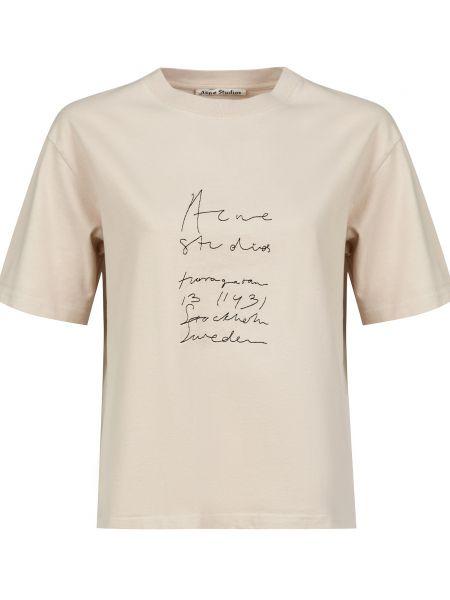 Хлопковая бежевая футбольная футболка Acne Studios
