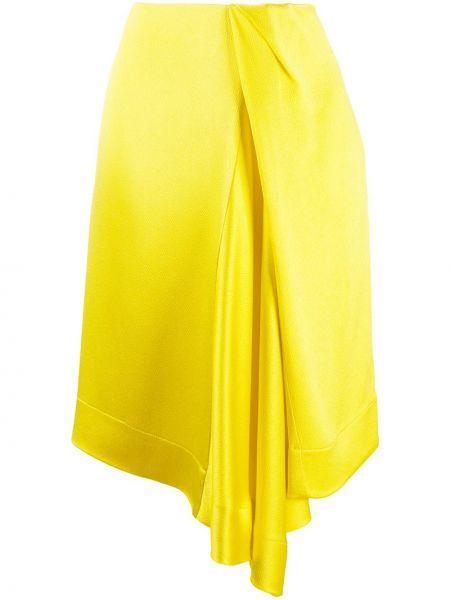 Асимметричная желтая юбка миди с драпировкой Nina Ricci