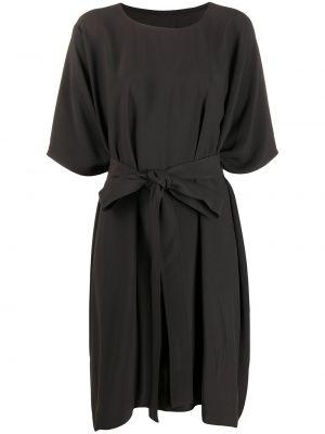 Brązowy sukienka okrągły z draperią okrągły dekolt Rick Owens