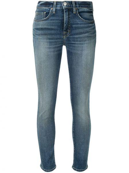 Хлопковые классические синие джинсы-скинни с высокой посадкой Nili Lotan