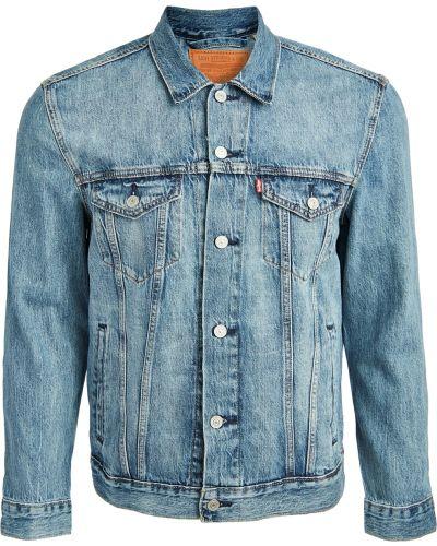 Niebieski kurtka jeansowa z mankietami z kieszeniami z długimi rękawami Levi's Red Tab