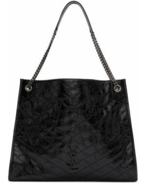 Skórzany czarny torba na zakupy z łatami prążkowany Saint Laurent