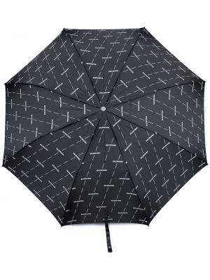 Czarny parasol z printem srebrny Balenciaga