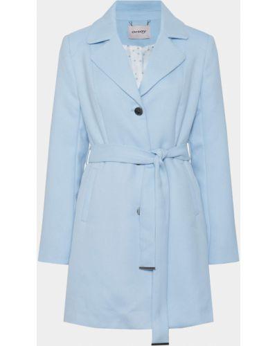 Niebieski długi płaszcz z paskiem materiałowy Orsay