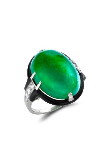 С ромбами серебряное кольцо с бриллиантом Cartier