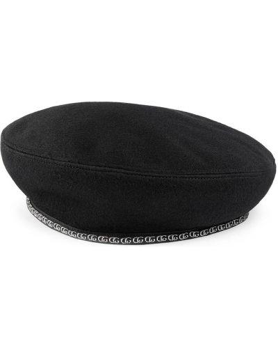 Czarny kapelusz wełniany z printem Gucci