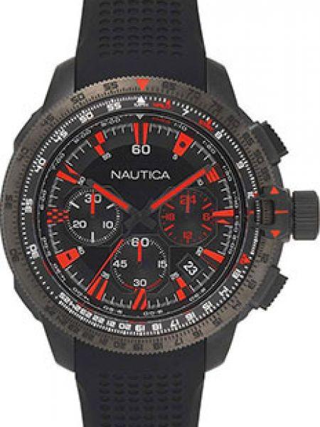 Классические черные силиконовые часы механические круглые Nautica