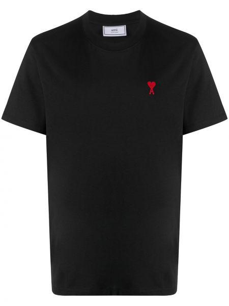 Czarny t-shirt bawełniany z haftem Ami