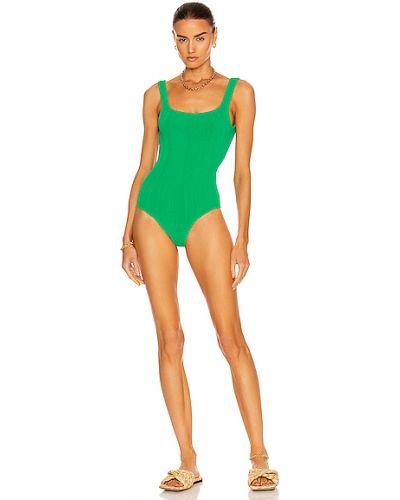 Зеленый нейлоновый купальник Hunza G