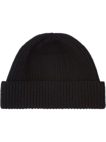 Czarna czapka wełniana Prada