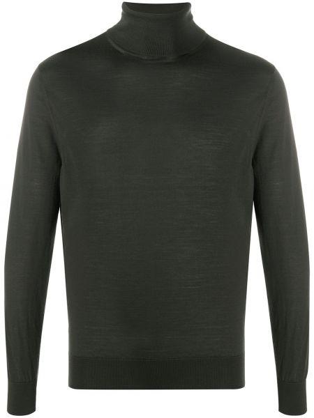 Wełniany zielony sweter z długimi rękawami z mankietami Ermenegildo Zegna
