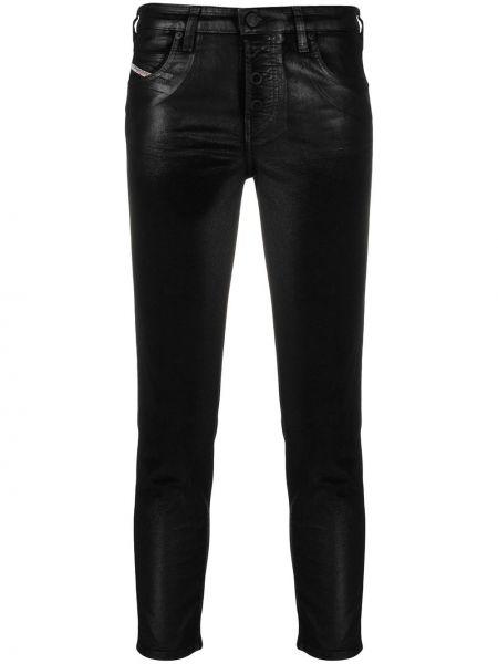 Bawełna bawełna czarny jeansy do kostek z paskiem Diesel