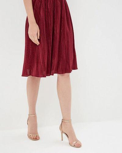 Плиссированная юбка бордовый красный Akimbo