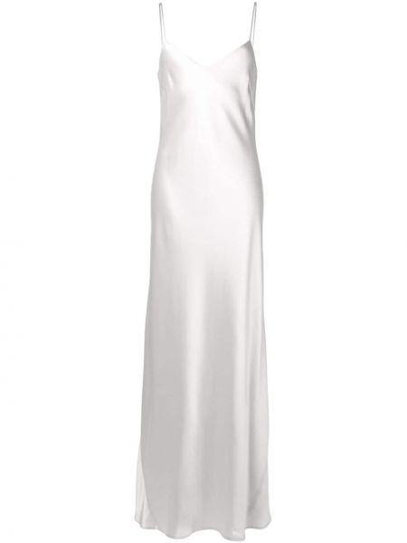 Sukienka długa z jedwabiu bez rękawów z dekoltem w serek Galvan