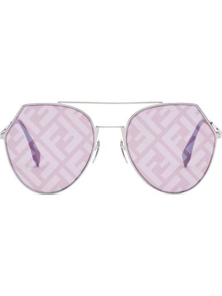 Прямые фиолетовые солнцезащитные очки металлические Fendi