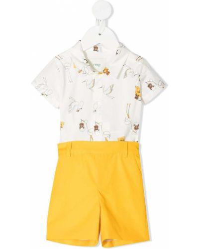 Белый хлопковый ромпер с карманами Fendi Kids