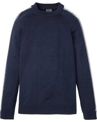 Синий пуловер с воротником-стойка Bonprix