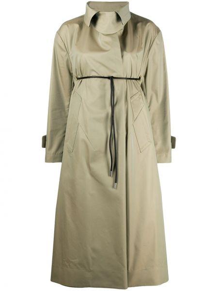 Zielony płaszcz wełniany z długimi rękawami Sacai