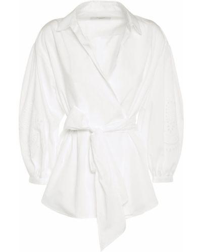 Biała koszula bawełniana z paskiem Weekend Max Mara