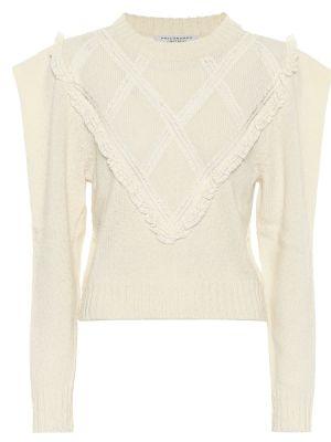 Белый шерстяной классический ажурный свитер Philosophy Di Lorenzo Serafini