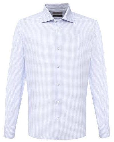 Шелковая синяя рубашка Canali