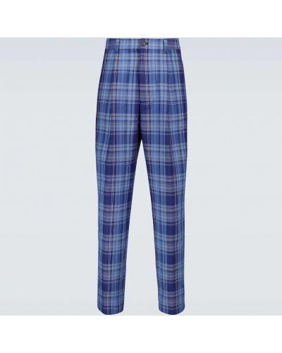 Niebieskie spodnie bawełniane w kratę Acne Studios