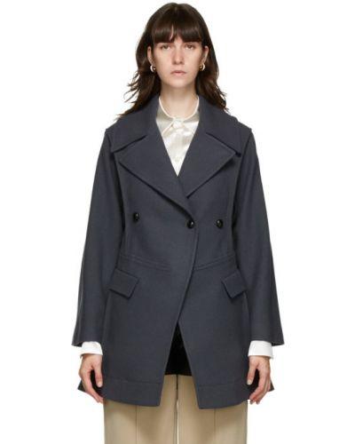 Черное шерстяное длинное пальто с воротником с лацканами Namacheko