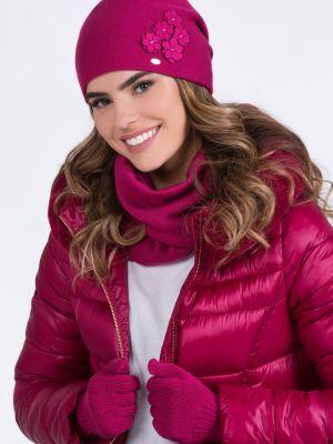 Różowy kapelusz wełniany Kamea
