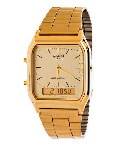 Часы водонепроницаемые желтый золотой Casio