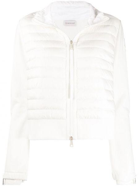Белая куртка на молнии со вставками с воротником Moncler