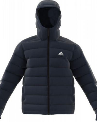 Спортивная теплая черная зимняя куртка с нашивками Adidas