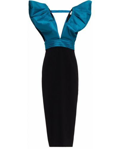 Плиссированное черное платье миди с подкладкой Ronny Kobo