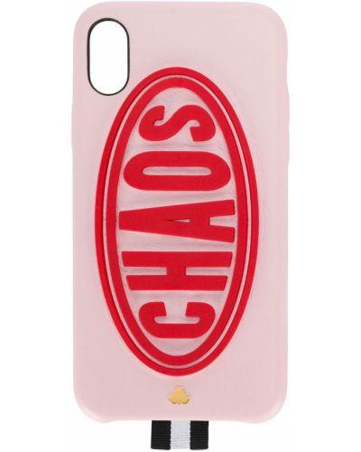 Розовый кожаный футляр для очков Chaos