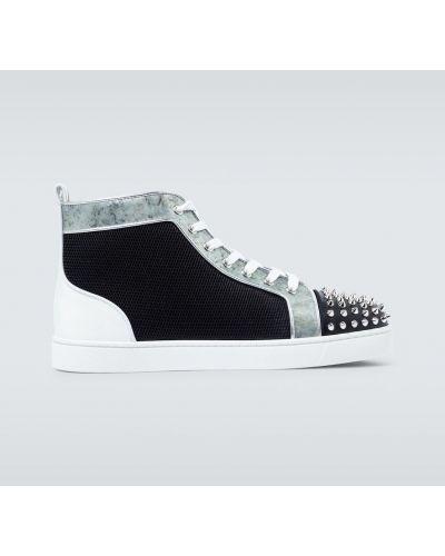 Czarny włókienniczy wysoki sneakersy z siatką siatkowaty Christian Louboutin