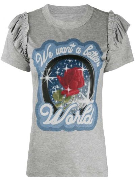 Хлопковая серая футболка с оборками с круглым вырезом Viktor & Rolf