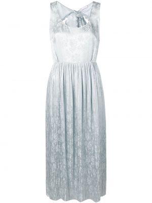 Шелковое серое платье без рукавов с вырезом Magda Butrym