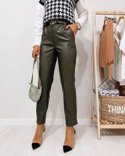 Зеленые с завышенной талией кожаные брюки Rozetka