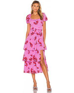 Розовое платье миди на молнии с оборками эластичное Likely