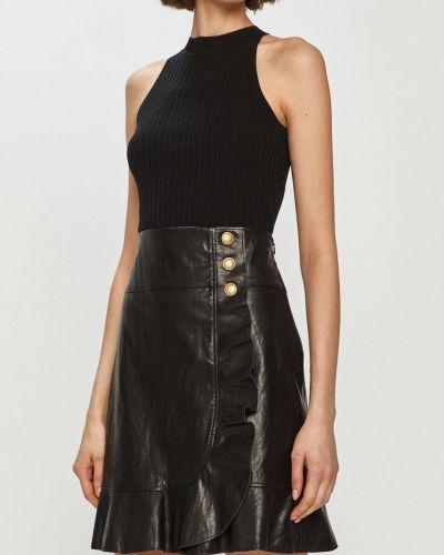 Czarna spódnica mini z falbanami zapinane na guziki Pinko