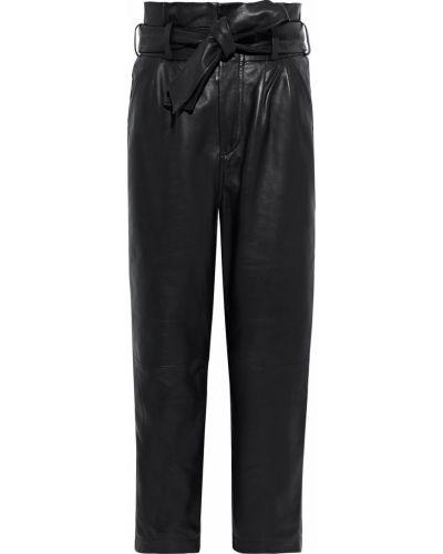 Кожаные черные укороченные брюки с поясом Walter Baker