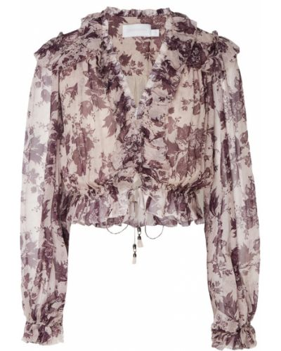 Блузка с длинным рукавом на резинке с цветочным принтом Zimmermann
