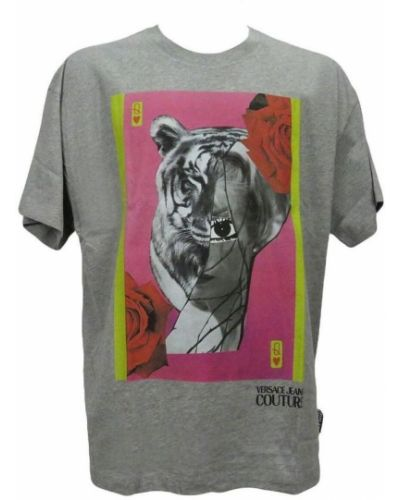 Z rękawami t-shirt z dekoltem okrągły Versace Jeans Couture