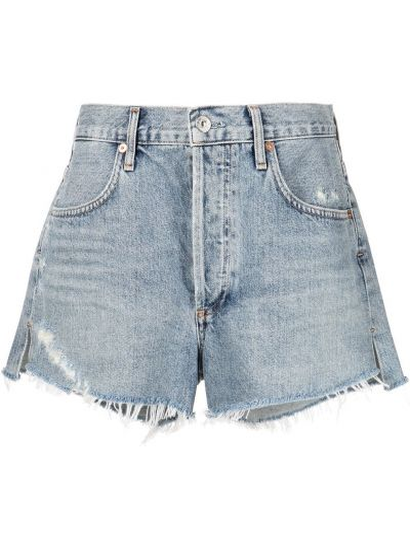 Хлопковые синие джинсовые шорты с карманами Citizens Of Humanity