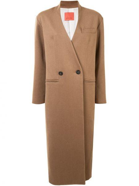 Коричневое шерстяное пальто двубортное с карманами Manning Cartell