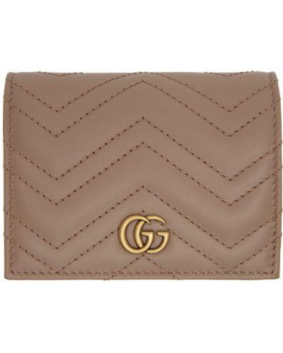 Pikowana portfel skórzany złoto z prawdziwej skóry wytłoczony Gucci