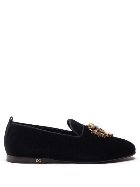 Черные слиперы из вискозы без застежки Dolce & Gabbana