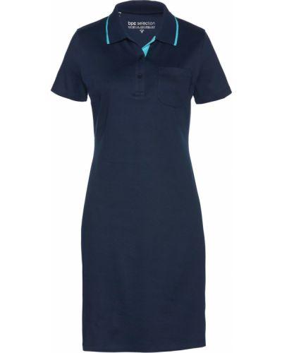 Темно-синее облегающее платье с вырезом Bonprix