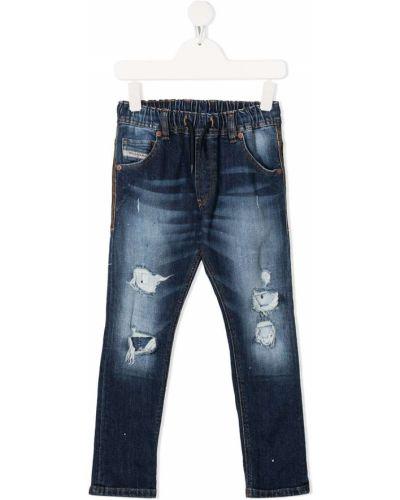 Кожаные синие джинсы классические с карманами Diesel Kids