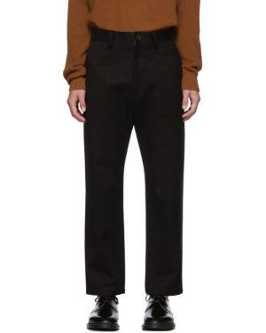 Хлопковые брючные черные брюки с поясом Studio Nicholson