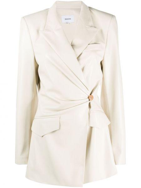 Белый кожаный пиджак с карманами Nanushka